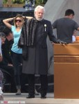 President Snow Donald Sutherland Catching Fire Set Podium 1