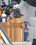 President Snow Donald Sutherland Catching Fire Set Podium 2