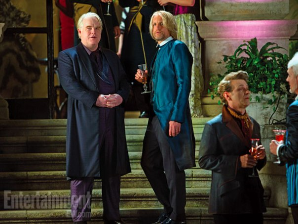 Entertainment Weekly Plutarch Heavensbee Philip Seymour Hoffman Haymitch Abernathy Haymitch Abernathy Woody Harrelson Capitol Party