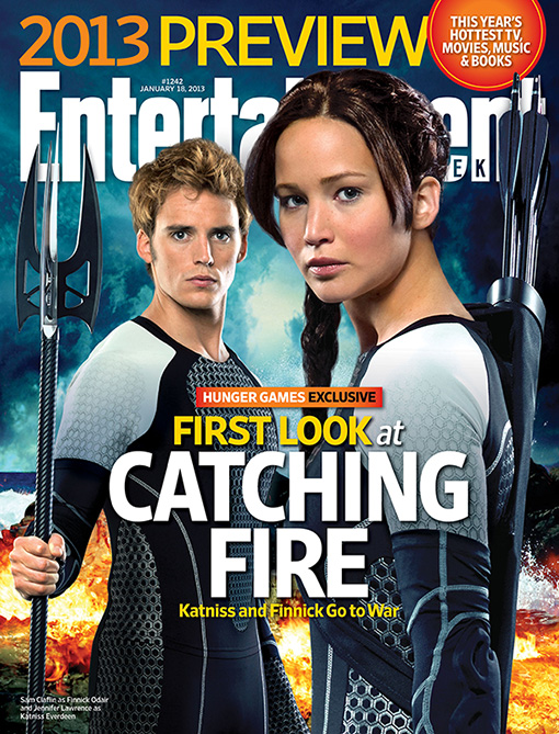 Entertainment Weekly The Hunger Games Catching Fire Jennifer Lawrence Katniss Everdeen Sam Claflin Finnick Odair